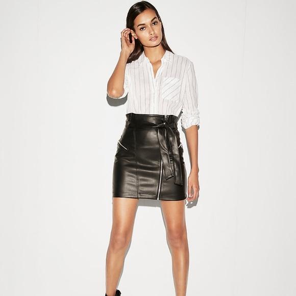 64ab4037a Express Skirts   Faux Leather Mini Skirt Black   Poshmark